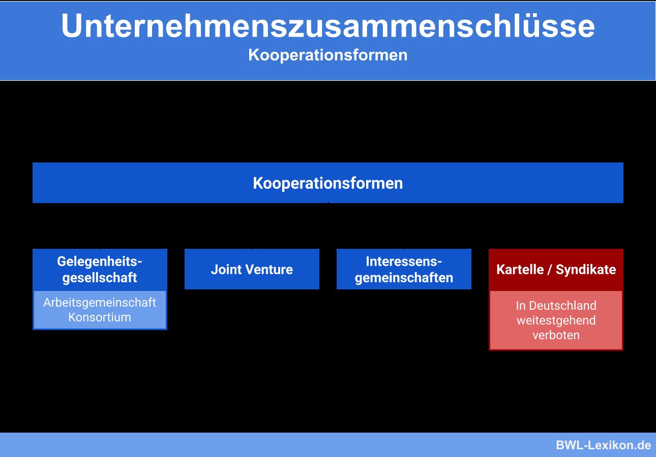 Unternehmenszusammenschlüsse: Kooperationsformen im Vergleich