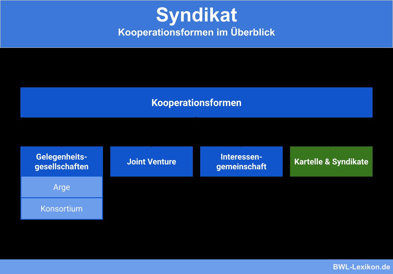 Kooperationsformen im Überblick: Gelegenheitsgesellschaften (Arge, Konsortium), Joint Venture, Interessengemeinschaft, Kartelle & Syndikate